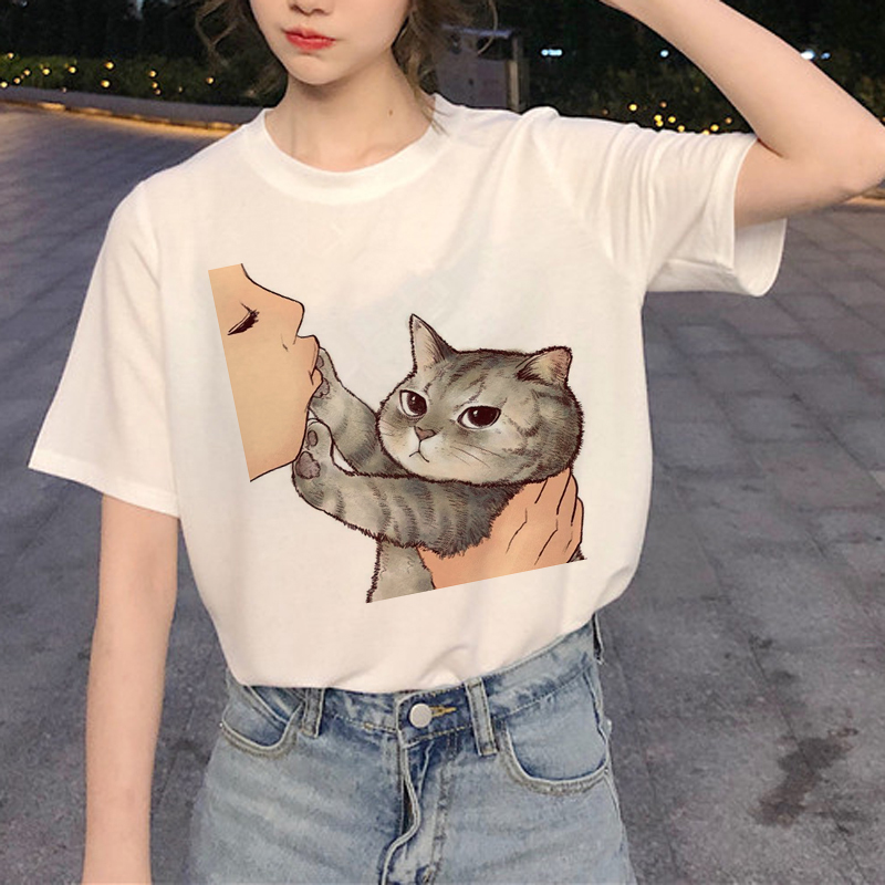 Mona Lisa T Shirt Cat Print Women Korean Clothes Harajuku 90s Funny Summer Tshirt Graphic Ulzzang Grunge T-shirt Femme