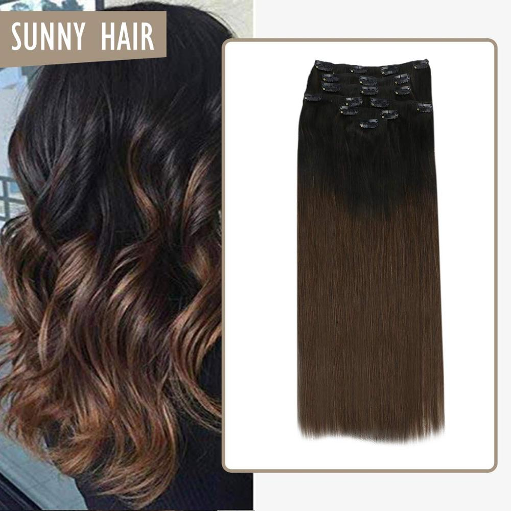 VeSunny Double Weft Clip In Hair Extensions Human Hair 7pcs 120gr Clip On Extensions Ombre Natural Black To Dark Brown #1B/4