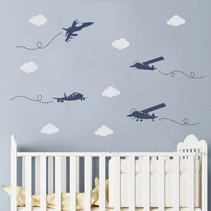 Modern Aircraft Wall Stickers Creative Big Airplane DIY Cloud Decals for Kids Nursery Room Decoration Home Mural Children Gift image