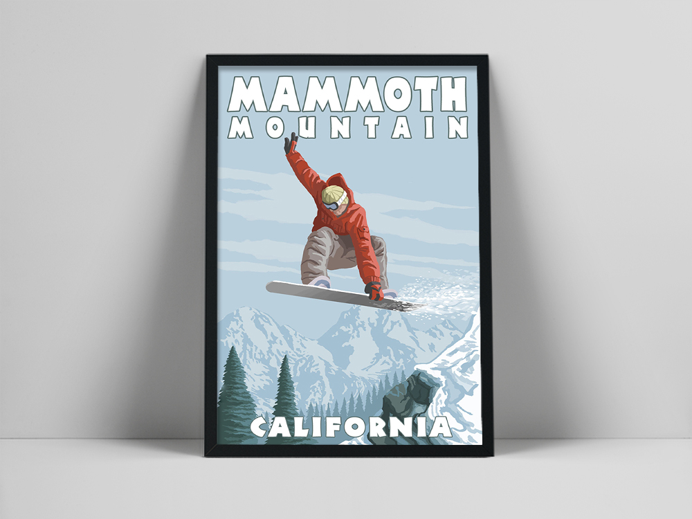 Winter Sports Skiing Mammoth Mountain California Travel Vintage Canvas Painting Snowboarder Jumpin Posters and Prints Home Decor