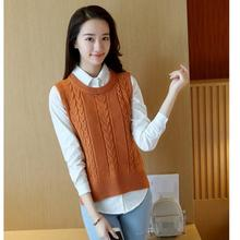 2019 Women High Quality Korean O-Neck Knit Vest Casual Pure Color Thin Loose Sleeveless Sweater Vest black high neck knit vest