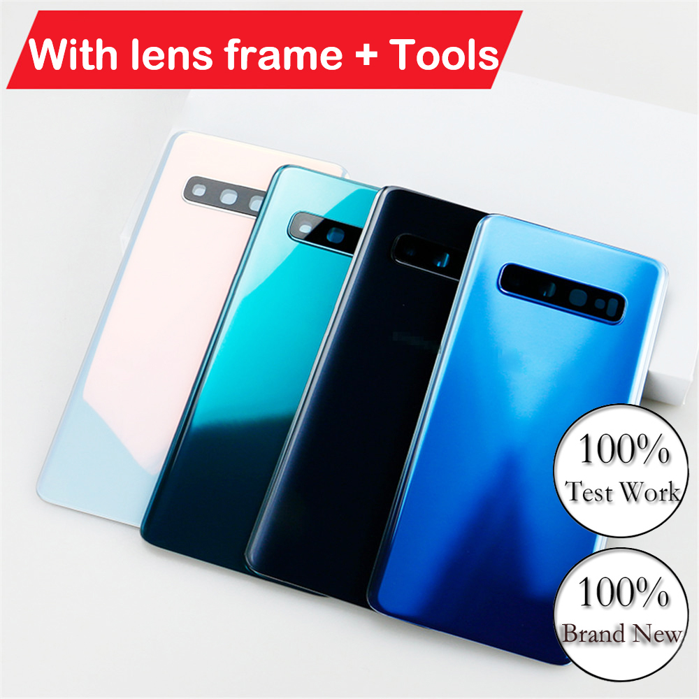 For Samsung Galaxy S10 S10Plus S10+With Lens Frame Back Case Battery Cover Glass Housing Cover Rear Cover+Tools