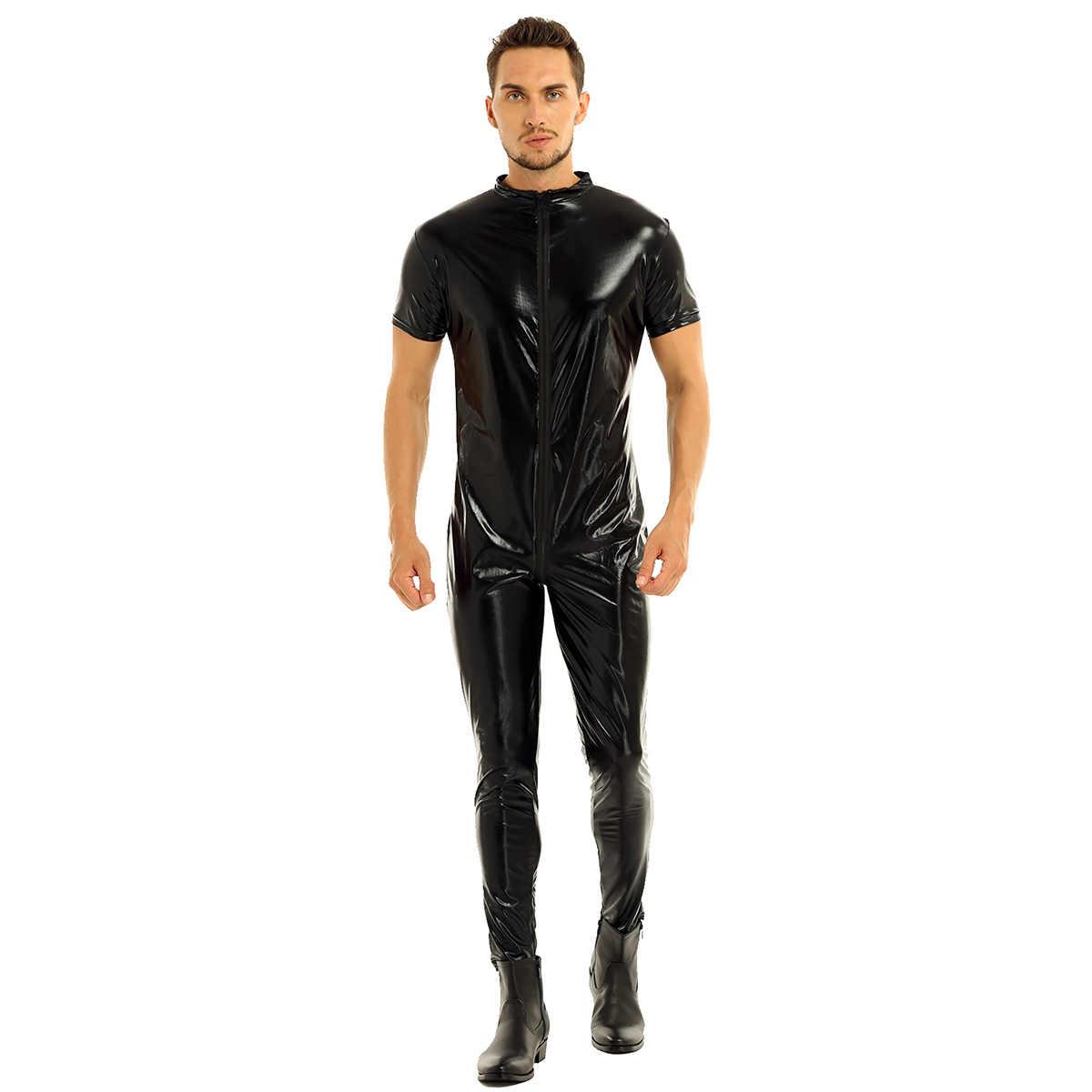 Eksotis Lateks Tubuh Pakaian Dalam Wanita Pria Kulit PVC Keseluruhan Jumpsuit Zipper Terbuka Selangkangan Tubuh Penuh Leotard Pria Dance Catsuit Sexy Clubwear