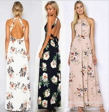 цены на Bohemian Sleeveless Back Cut Out Sexy Hater Long Dress Chiffon Floral Printing High Slit Maxi Dresses for Women  в интернет-магазинах