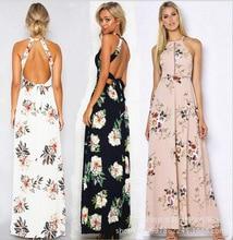 Bohemian Sleeveless Back Cut Out Sexy Hater Long Dress Chiffon Floral Printing High Slit Maxi Dresses for Women plunge crisscross open back high slit maxi dress