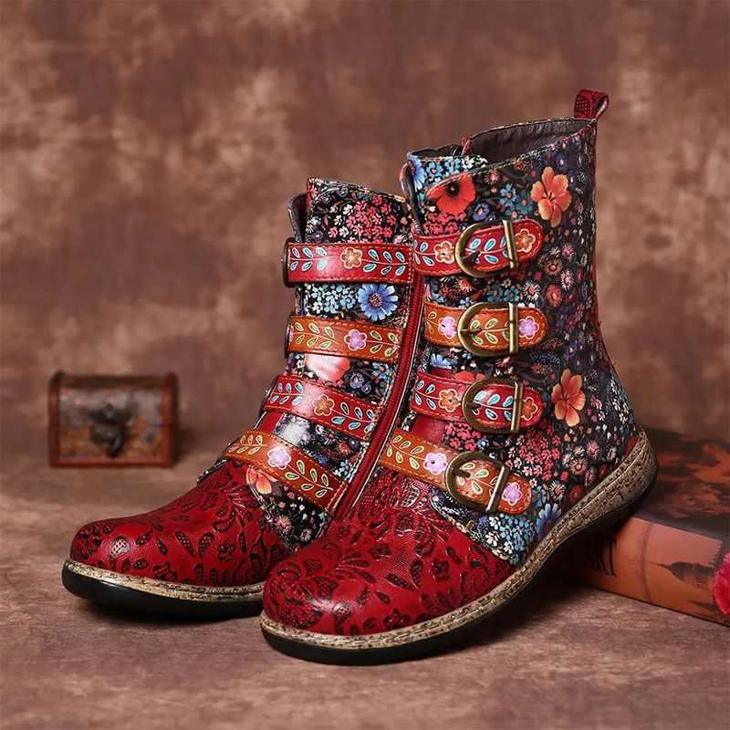 Socofy untuk Wanita Retro Dicetak Logam Gesper Kulit Asli Zipper Ankle Boots Wanita Wanita Botines Mujer 2020