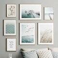 Настенная картина с изображением моста из белого камня, язычков, синего моря, настенные картины на холсте в скандинавском стиле, настенные к...