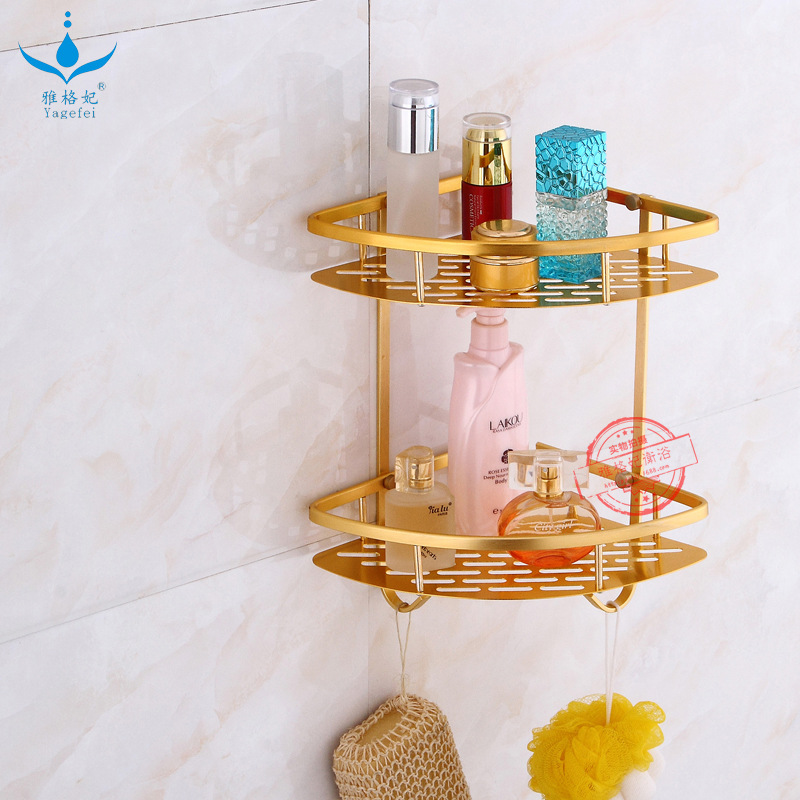 Hot Selling Alumimum Triangular Aluminium Plate Storage Shelf Gold Set Square Toilet Double Layer Three Layer Corner Mesh Basket|  - title=