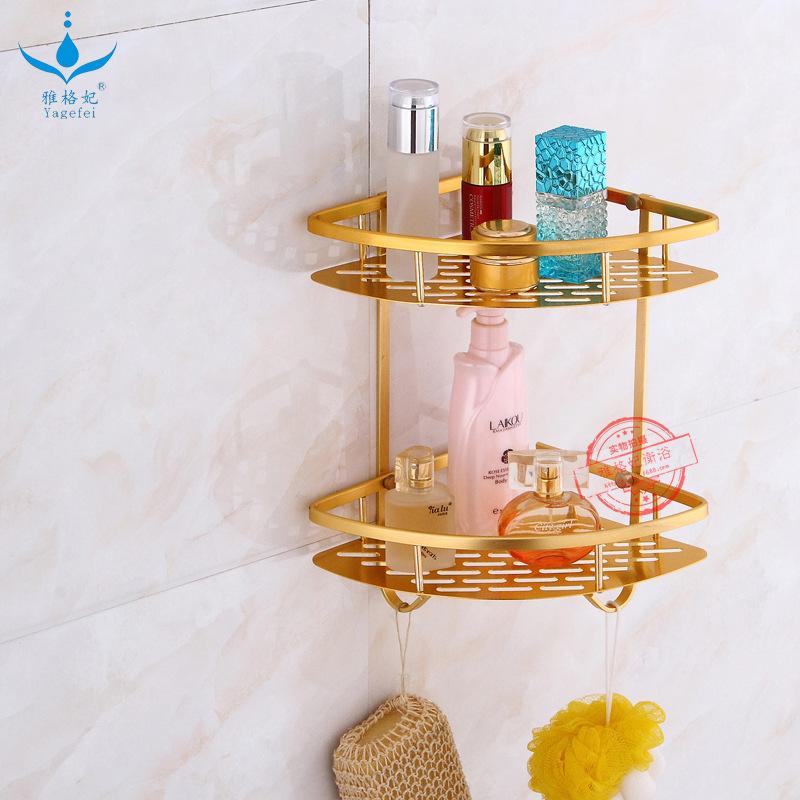 Hot Selling Alumimum Triangular Aluminium Plate Storage Shelf Gold Set Square Toilet Double Layer Three Layer Corner Mesh Basket