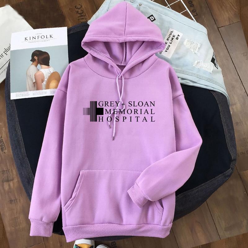 Grey Sloan Memorial Hospital Sweatshirt Women Grey's Anatomy Hoodies Girl Twisted Sisters Grey Sloan  Hooded Pullover Clothes