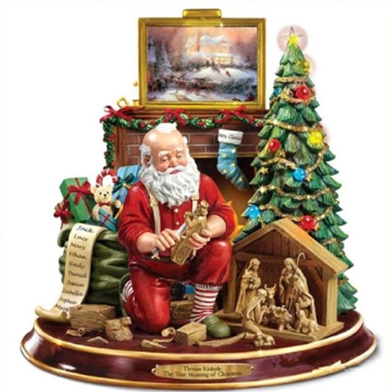 Pintura de diamantes de Navidad de taladro completo, bordado de diamantes de mosaico de diamantes, imagen de bordado de diamantes, decoración artística de Navidad para el hogar Pintura de punto de cruz de diamantes    - AliExpress