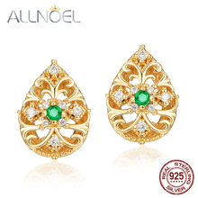 ALLNOEL Woman Gorgeous Silver stud earrings Hollow Water Drop Natural Emerald Cubic Zircon Diamond  Gemstone Real Gold Jewelry