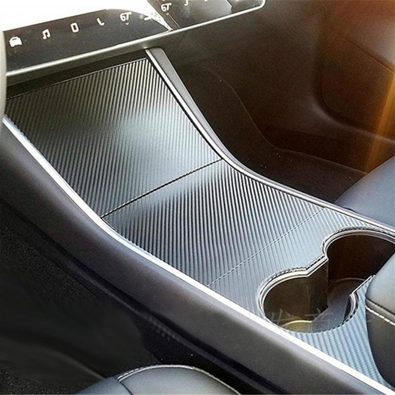 1 Set Sticker For Tesla Model 3 Center Console Film Center Console PVC Wrap Matt Black Carbon Fiber Style Accessories