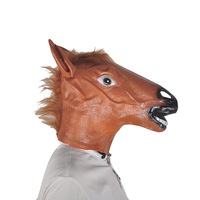 Full Head Mask Horse Head Mask Creepy Fur Mane Latex Realistic Crazy Rubber Super Creepy Party Halloween Costume Mask