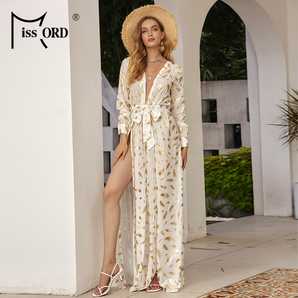 Missord <font><b>Sexy</b></font> Deep V Neck <font><b>Boho</b></font> <font><b>Beach</b></font> <font><b>Dress</b></font> Long Sleeve Lace Up Print Women <font><b>Dresses</b></font> Female <font><b>Elegant</b></font> Maxi Party <font><b>Dresses</b></font> FT2294-2 image