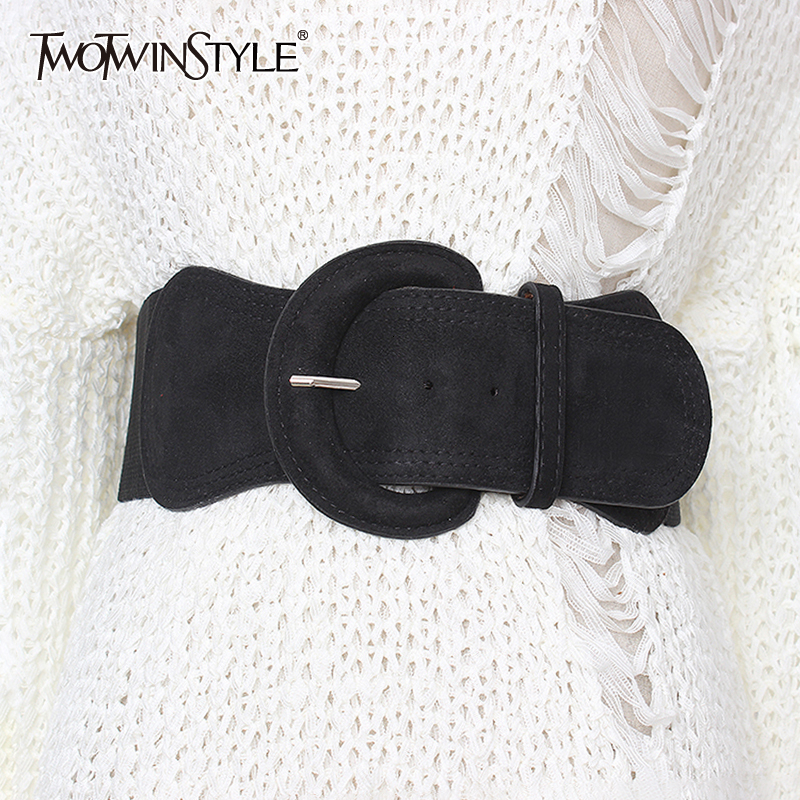 TWOTWINSTYLE Summer Elegant Belt For Women High Waist Slim Solid Dresses Accessories Elastic Belts Female 2019 Fashion New