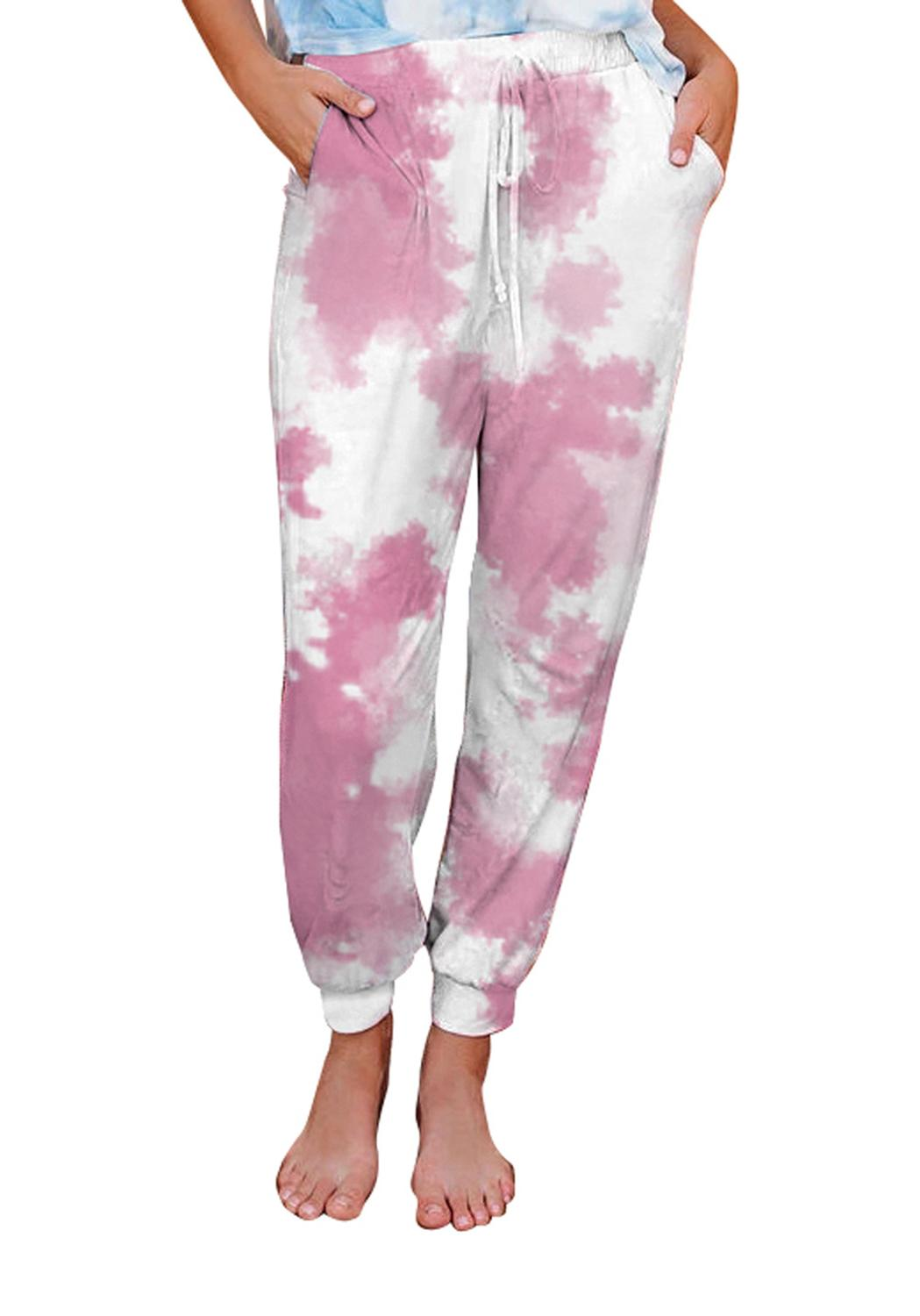 Women Wardrobe Casual Long Pants Tie Dye Print Drawstring Side Pockets Jogging Sweatpants