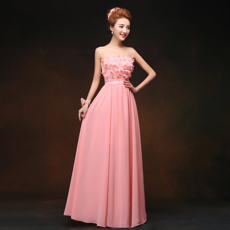Long Dress For Wedding Party For Woman Pink Bridesmaid Dress Chiffon Sweetheart Sleeveless Vestidos Mujer Sister Sexy Dress Prom