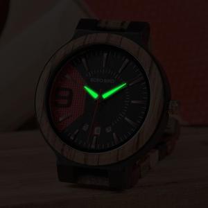 Image 3 - Reloj masculino BOBO BIRD hechos en madera, reloj de lujo con indicador de fecha hecho en madera, relojes de cuarzo, relojes de pulsera, excelente regalo para hombres W Q13