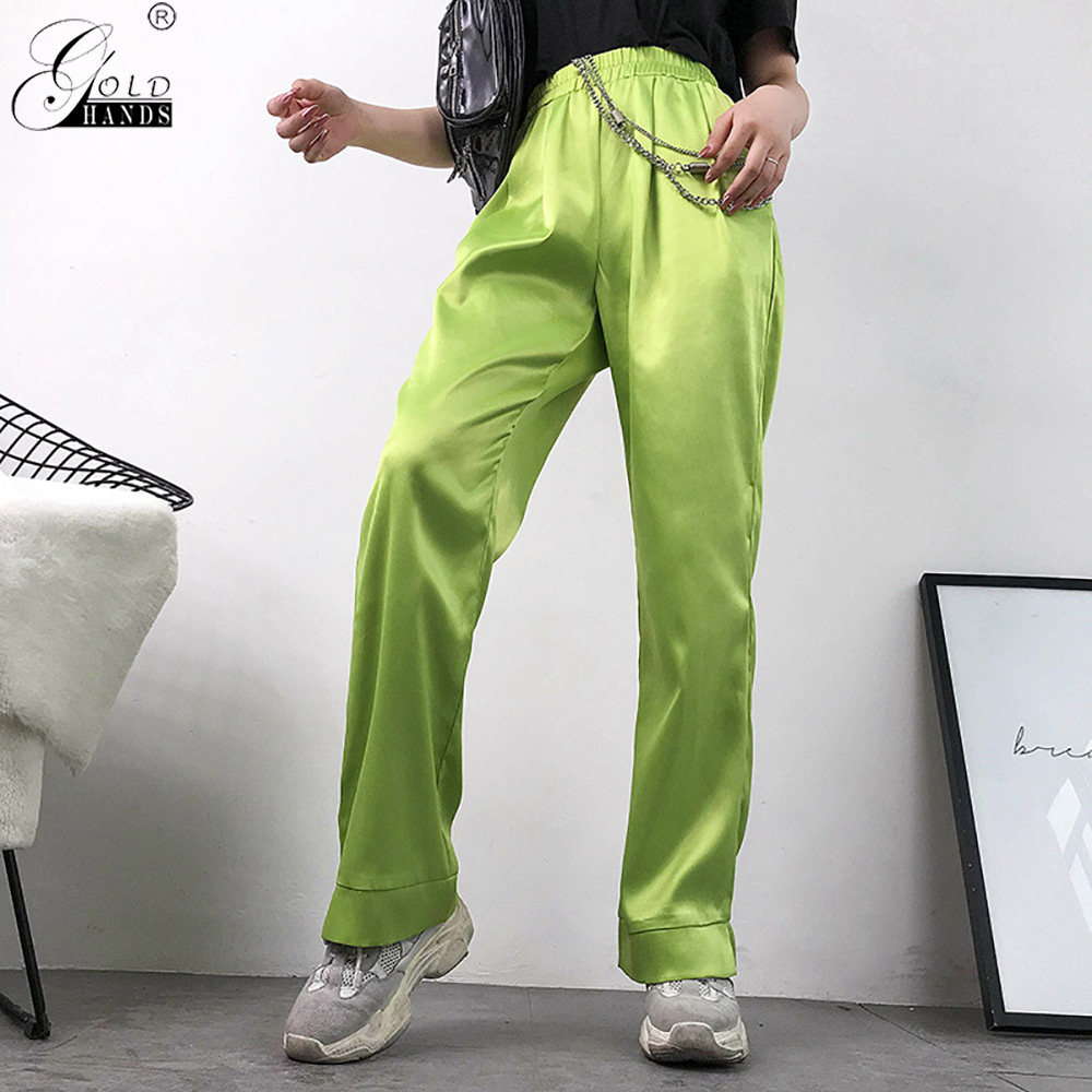 Gold Hands Neon Green High Waist   Pants     Capri   Harajuku Casual Straight Ladies Trousers Pockets Streetwear Loose Satin   Pants   Women