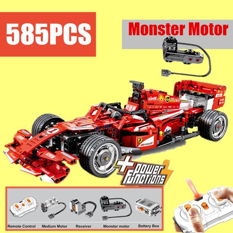 جديد MOC RC قوة المحرك وظيفة سباق سيارة صالح Legoings تكنيك التحكم عن بعد نموذج بناء كتل الطوب لعبة الهدايا طفل-في حواجز من الألعاب والهوايات على  مجموعة 1