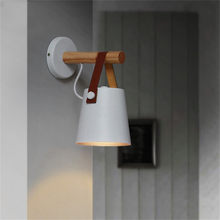 Nordic White/Black LED Bedside Wall Lamps Indoor Lights E27/E26 Aisle Lighting Creative Wooden Leather Wall Sconces Lights(China)