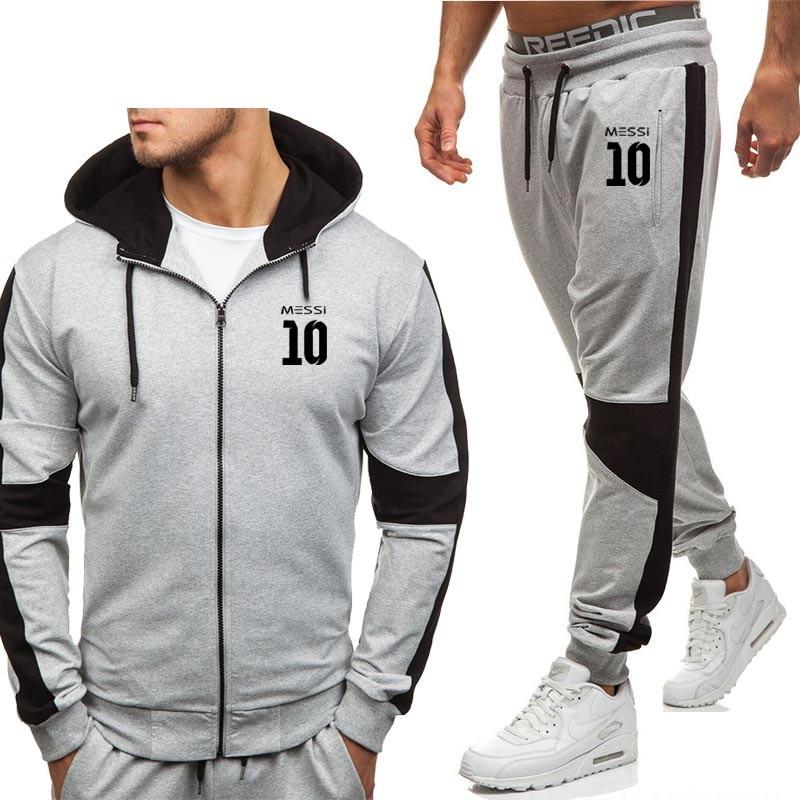 Messi 10 Print Hoodies Men Spring Autumn Fleece Warm Zipper Jacket Mens Streetwear Hip Hop Male Sweatshirt Sweatpants Suit 2Pcs
