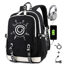 Mochila de Naruto para niños y niñas, morral escolar con impresión de carga Usb, Logo Sharingan, mochila de viaje para ordenador portátil para estudiantes, para hombre