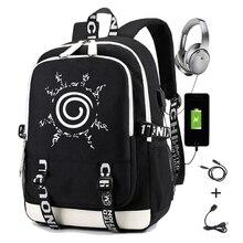 Рюкзак Naruto для мальчиков и девочек, школьный ранец с Usb зарядкой и принтом Шаринган, Мужской Дорожный студенческий портфель для ноутбука
