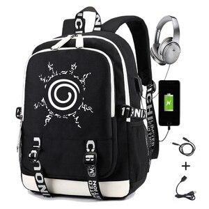 Image 1 - Naruto erkekler için sırt çantası kız çocuk okul çantası Usb şarj ile baskı Sharingan Logo öğrenci dizüstü seyahat sırt çantası erkekler için