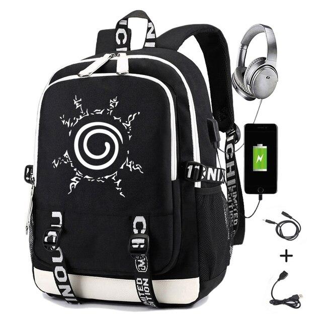 Naruto erkekler için sırt çantası kız çocuk okul çantası Usb şarj ile baskı Sharingan Logo öğrenci dizüstü seyahat sırt çantası erkekler için