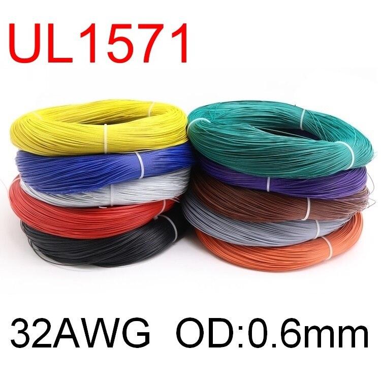 Электрический провод из ПВХ, 5 м, OD 0,6 мм, UL1571, 32AWG, гибкий кабель, изолированный оловянный медный экологический светодиодный провод, шнур «сде...