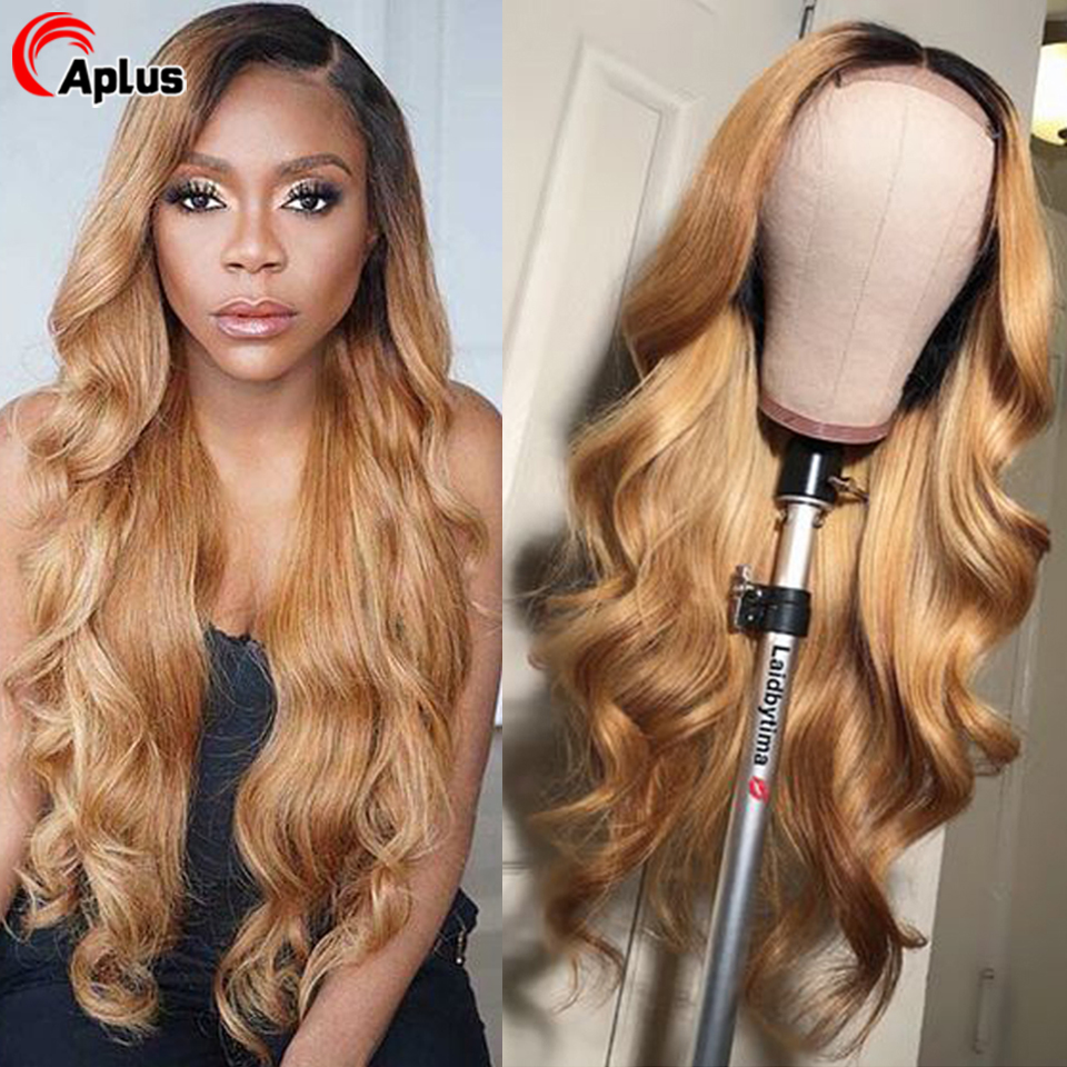 Blonde Lace Front Wig Body Wave Ombre Human Hair Wig 180 Density Glueless Natural 1B 27 30 99J Burgundy Brazilian Remy Hair Wigs