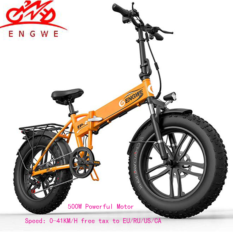 Electric bike 20*4.0inch Aluminum Foldable electric Bicycle 48V12A 500W 38KM/H 7Speed Powerful Fat Tire bike Mountain snow ebike 1