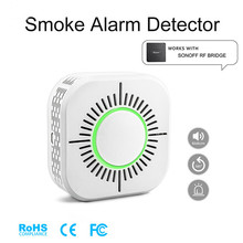 4Pcs Smoke Detector Wireless 433MHz Fire Security Protection Alarm Sensor for Smart Home Automation, Work with Ewelink APP