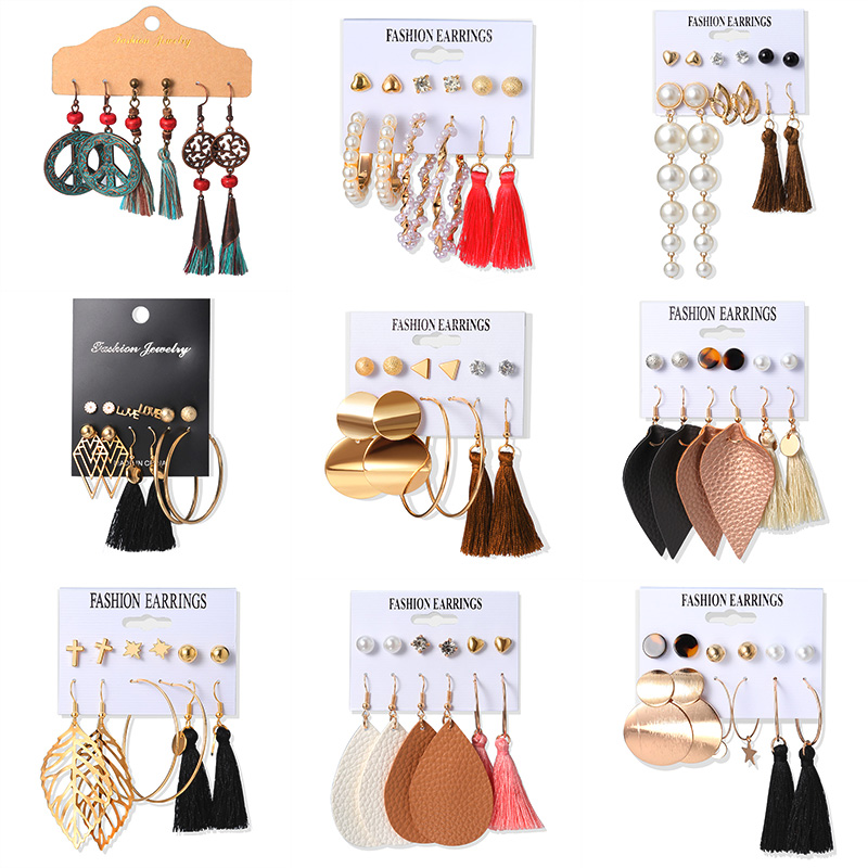 New Bohemian Tassel Drop Earrings for Women Vintage Multi-Element Pearl Acrylic Dangle Earrings Fashion Jewelry 2020 wholesale