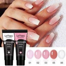 LEMOOC 15 мл гель для наращивания ногтей прозрачный белый розовый акриловый гель для ногтей УФ светодиодный акриловый гель для быстрого наращи...
