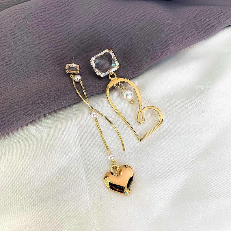 S925 Perak Pin Fashion Warna Emas Jantung Panjang Asimetri Menjuntai Anting-Anting Perhiasan Hadiah Chic Mutiara Kristal Drop Anting-Anting untuk Wanita