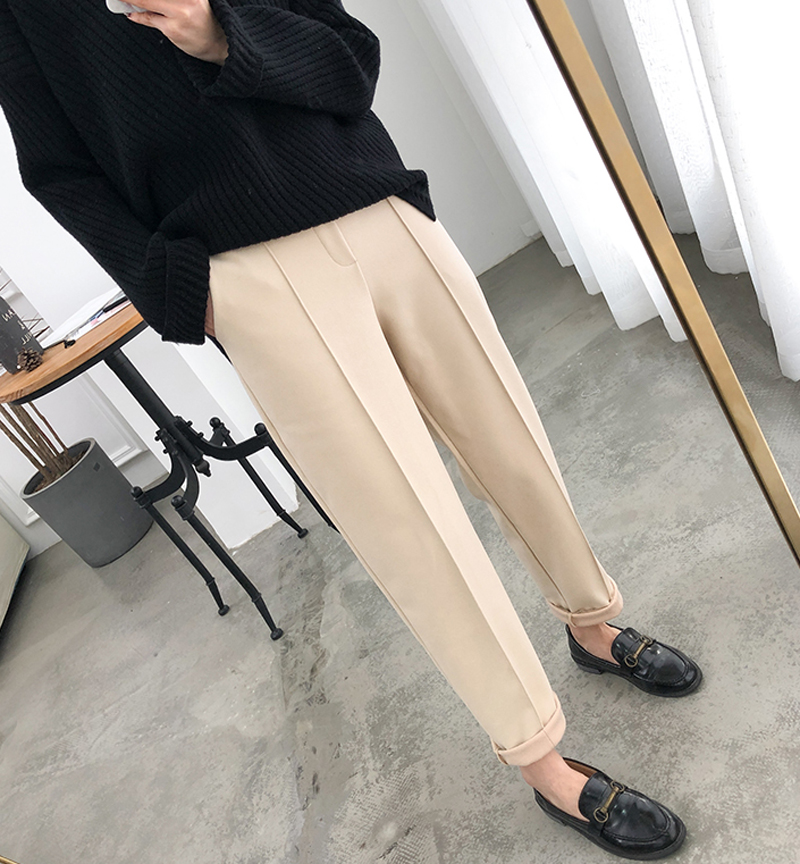 Hf89c2bd9944d4deca1a63e99452b3b08e - Thicken Women Pencil Pants Autumn Winter Plus Size OL Style Wool Female Work Suit Pant Loose Female Trousers Capris 6648 50