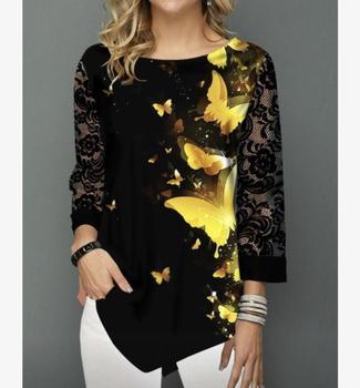 Shirt Blouse Women Spring Summer Blouse 3/4 Sleeve Casual Printing Button Female fashion shirt Tops Plus Size StreetShirt 4