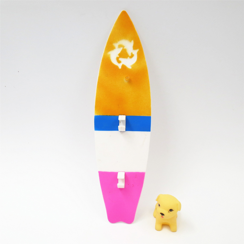 Dollhouse Miniature Colorful Surfboard Model With Dog For 30cm Doll Accs