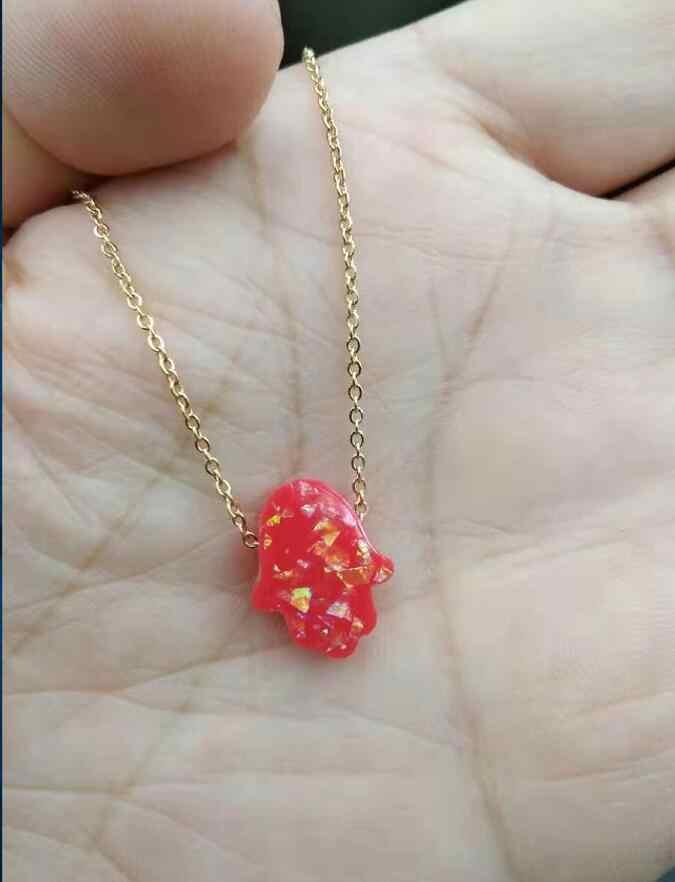 Нержавеющая сталь Золото Серебро цветная цепочка Смола ладонь подвеска в форме руки ожерелье женское ожерелье с опалом 45 см оптовая продажа