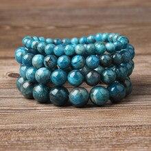 Lingxiang pulseira apatita azul natural, 4/6/8/10/12mm, para homens e mulheres mulheres para usar joias com corda elástica