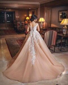 Image 2 - כהה עירום שנהב כדור שמלת חתונת שמלות כבוי כתף תחרה טול ערב ערבית חתונת שמלות כלה שמלות תחרה עד מותאם אישית