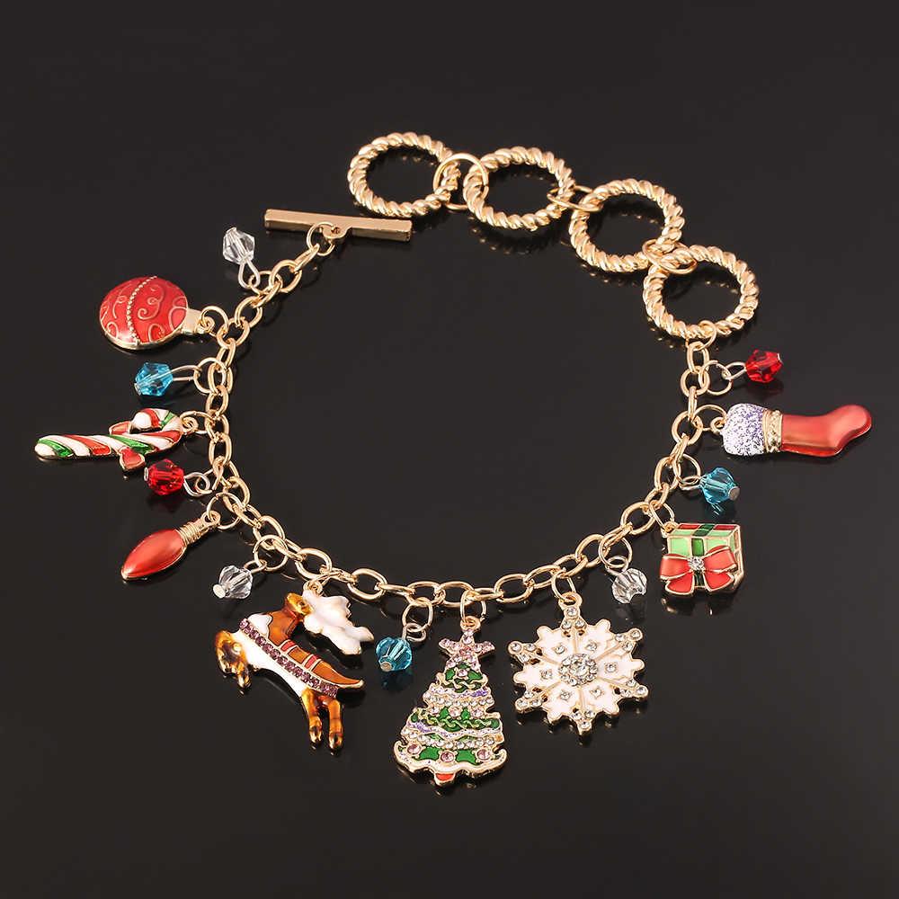 חג המולד מתנת אופנה צמידי 2020 דוב פנים המלכים צמיד קריסטל חרוזים נשים ילדה תכשיטים
