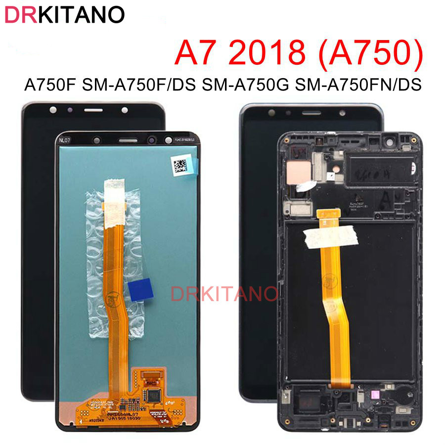 Original LCD For <font><b>Samsung</b></font> <font><b>GALAXY</b></font> <font><b>A7</b></font> <font><b>2018</b></font> LCD <font><b>Display</b></font> Touch Screen With Frame A750 SM-A750F A750F For <font><b>SAMSUNG</b></font> <font><b>A7</b></font> <font><b>2018</b></font> LCD Replace image