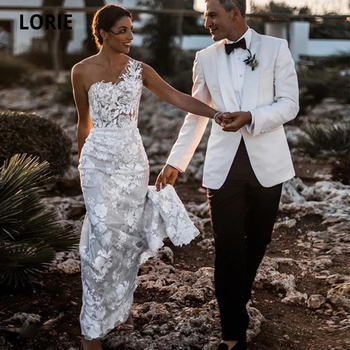 LORIE Lace Wedding Dresses Mermaid Boho 2019 One Shoulder Open Back Bridal Gowns Beach Elegant Vintage Wedding Gown Plus Size plus open shoulder sweatshirt