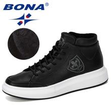 BONA 2019 New Designer High Top Sneaker Men Lace Up Casual Footwear Male Chunky Shoes Men Fashionable Comfortable Vulcanizs Shoe