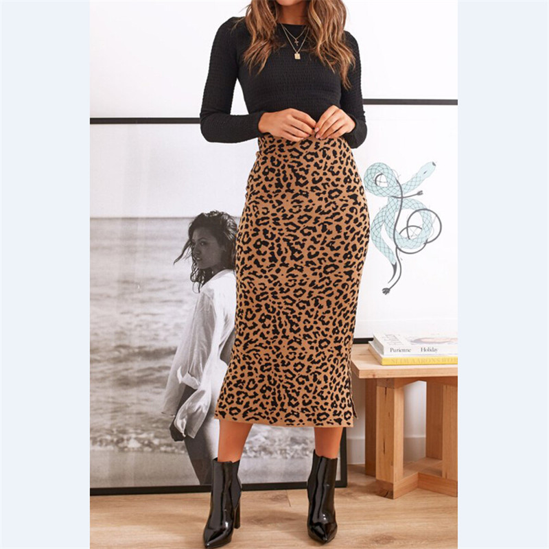 Women Skirt Leopard Print Maxi Skirt Ladies High Waisted Summer Long Skirts Fashion Leopard Skirts Womens