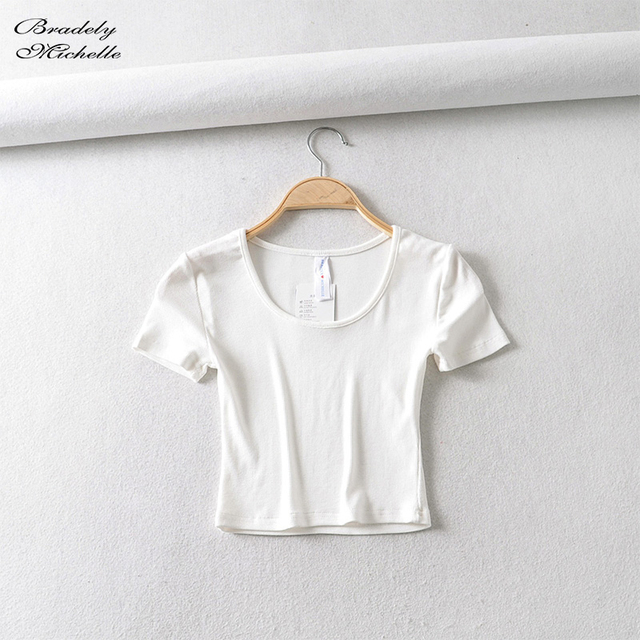 Bradely Michelle Casual Cotton New 2020 Summer Woman Slim Fit t-shirt tight Short-Sleeve O-neck tee Crop Tops 2